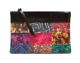 Clutch bag, Patchwork Clutch, Clutch Purse, Hand-dyed Canvas, African dyed clutch purse, Leather & Canvas clutch, Handmade bag, Evening bag