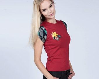 Red t-shirt, Womens tshirt, Ankara top, Pebbles Tee, African Tee, Nigerian Tee, Red African Print Tee, African top