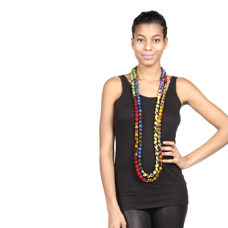 Colourful Necklace Ankara Bead Necklace African print image 0