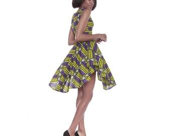 Ankara dress, African print dress, Purple Lime Ankara Print Dress, African Print Ruffle Dress, Going out dress, Short ankara dress
