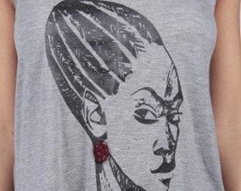 Grey top, Womens tshirt, Graphic tee, Shuku lady, African Tee, Nigerian Tee, African Print Tee, African top