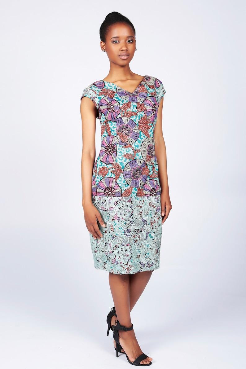 Ankara Lace Dress African Print Dress Red cotton print image 0