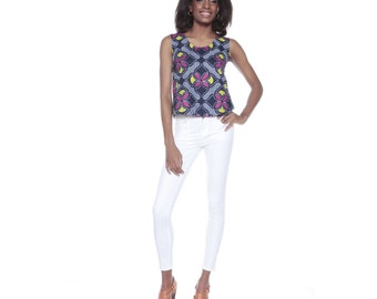 Blue and pink print vest - Cropped African Print top- Ankara crop top