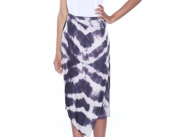 Indigo skirt, Adire skirt, Asymmetric Skirt, Blue print skirt, Tie and dye skirt, Midi length skirt