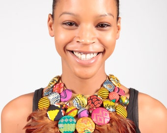 African print Button and Feather Bib Necklace- African print necklace- African Wax Jewellery- Statement Necklace- Colourful Neckpiece