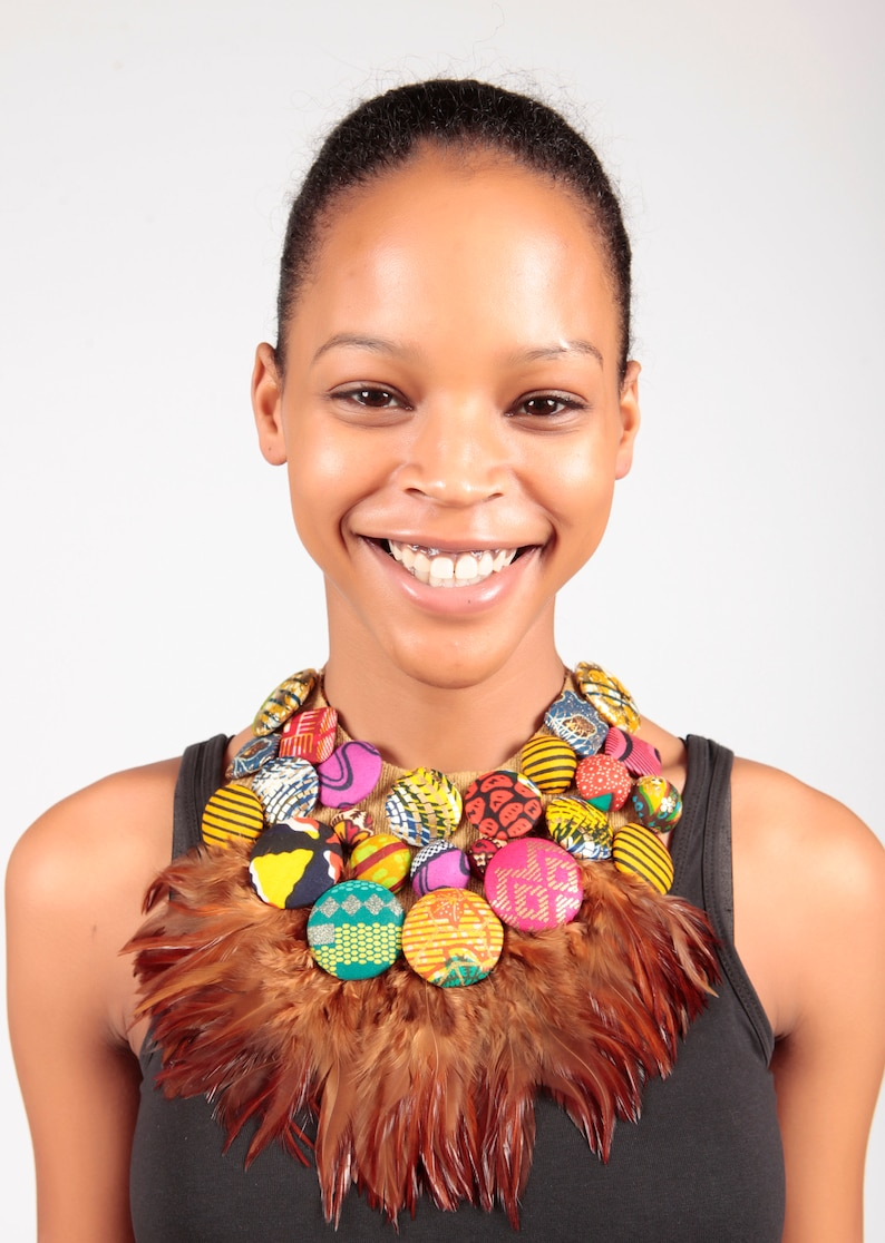 African print Button and Feather Bib Necklace African print image 1