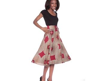 Ankara Skirt, African print skirt, Midi, Circle Skirt, Savannah Full Skirt- African Wax Print Skirt, Full skirt, Cream skirt, Beige Skirt
