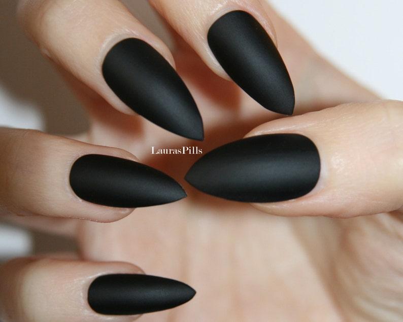 Matte Black Stiletto false nails | Etsy