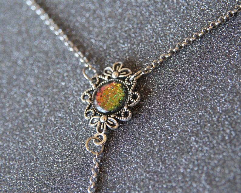 minimalistic jewelry Lariat y necklace holographic jewelry Y necklace with sparkling holographic charm glitter jewelry