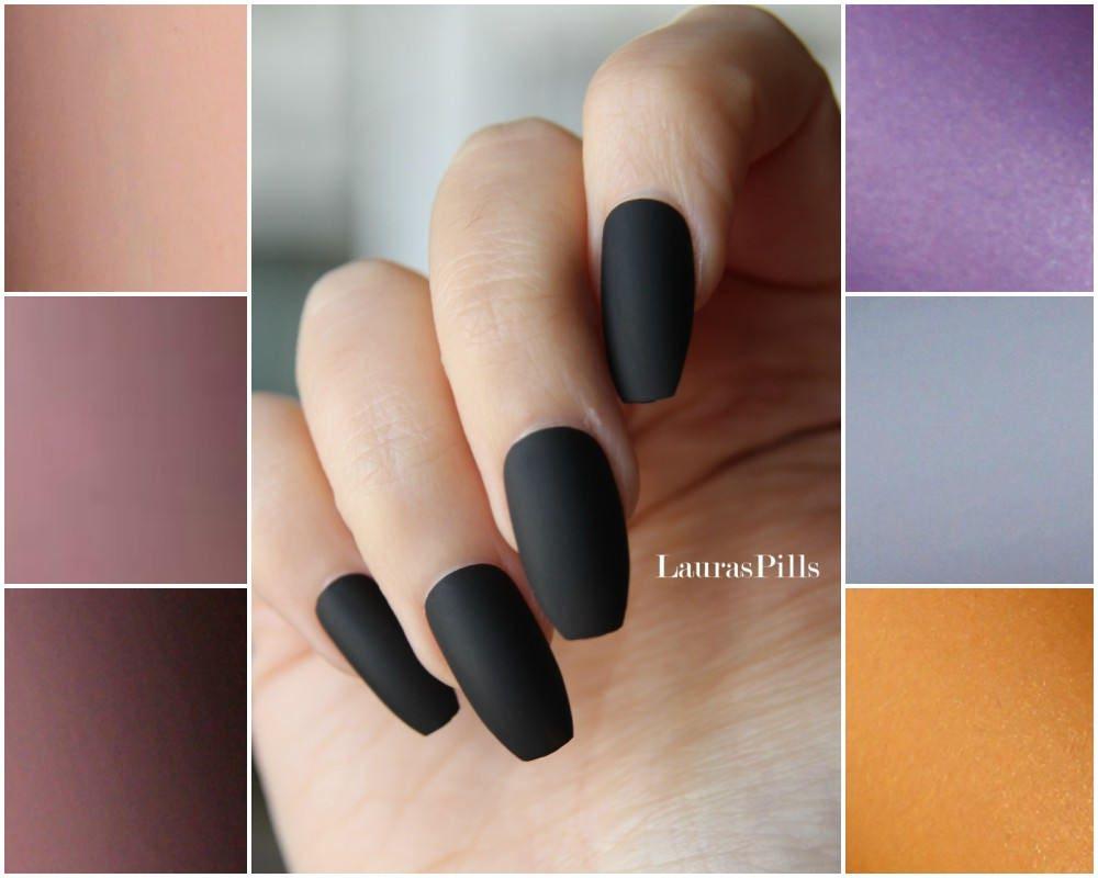 Black coffin shaped false nails ! Ballerina nails, matte finish ...