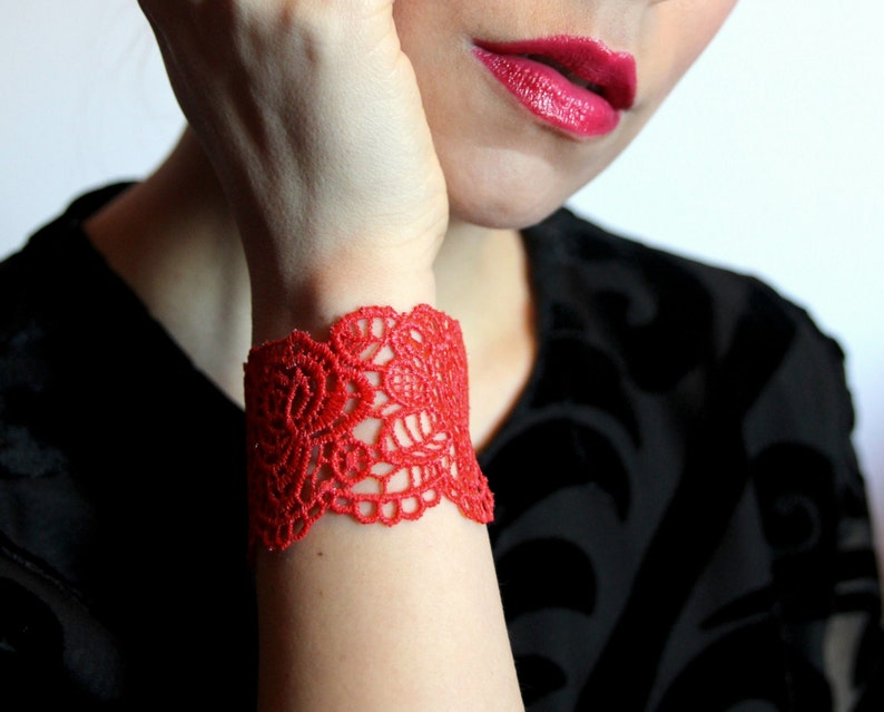 Gift for her black grey Lace bracelet cuff Choose your colour!Rose lace bracelet in red