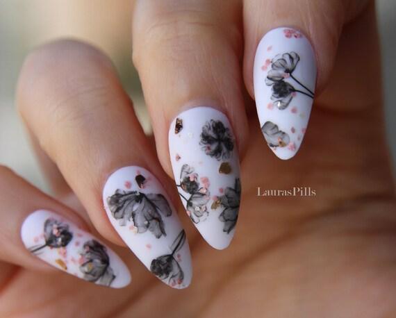 Black and white flowers stiletto false nails fake nails etsy image 0 mightylinksfo