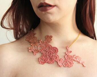 Ombreè lace necklace. Statement necklace, italian lace, venice lace, victorian jewelry, brown, peach pink, burnt orange, caramel