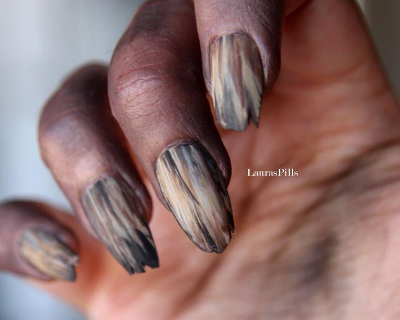 Halloween nails! Rotten Zombie's false nails! Witch nails, evil nails,  broken nails, horror nails, werewolf nails (set 0f 18)