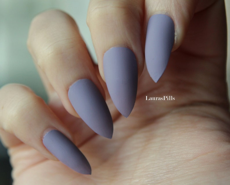 Grey purple stiletto false nails! Matte or glossy Nude Beige greige mauve  pink fake nails