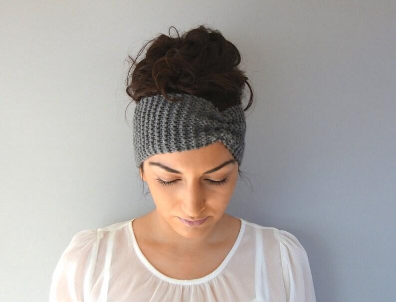 Gray Winter Headband Knitted Ear Warmer Fall Headband Knit image 0