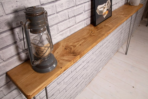 Narrow Rustic Console Table with Hairpin Legs Slimline Hall  6862f139b