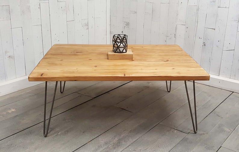 Vintage Hairpin Leg Coffee Table Reclaimed Rustic Coffee Table Hairpin Leg Hand-crafted Industrial Style Hairpin Leg Coffee Table