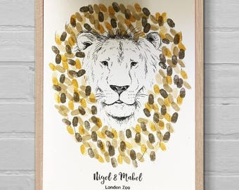PERSONALISED LION Fingerprint Guest Book Keepsake - Unique Gift!! Zoo Wedding! Printed on Card & Canvas!