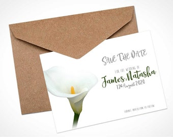 White Calla Lily Wedding Save The Date Card / Magnet