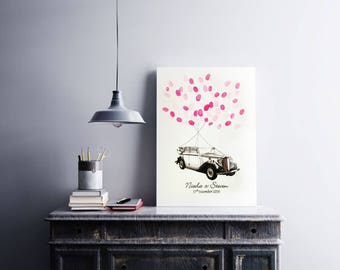 Personalised Wedding Car Fingerprint Guest Book -Celebration/ Birthday/ Anniversary- Car & Balloons