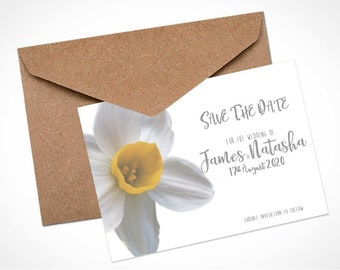 White Daffodil Wedding Save The Date Card / Magnet