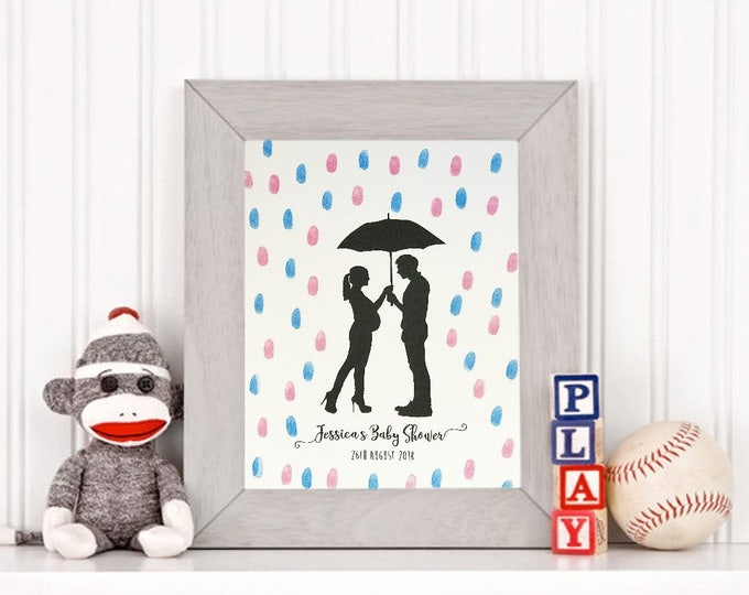 Personalised BABY SHOWER Fingerprint Guest Book Keepsake - Unique Gift!!
