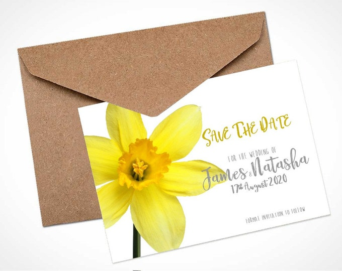 Yellow Daffodil Wedding Save The Date Card / Magnet