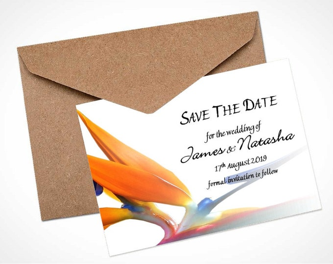 Bird of Paradise Wedding Save The Date Card / Magnet