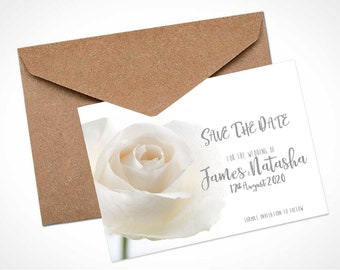 White Rose Wedding Save The Date Card / Magnet