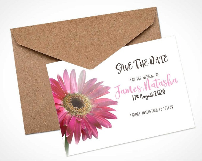 Pink Gerbera Wedding Save The Date Card / Magnet