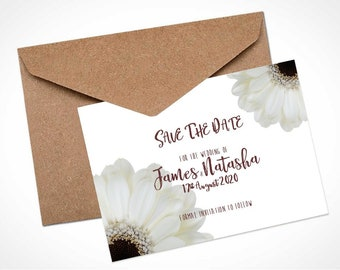 White Gerbera Wedding Save The Date Card / Magnet