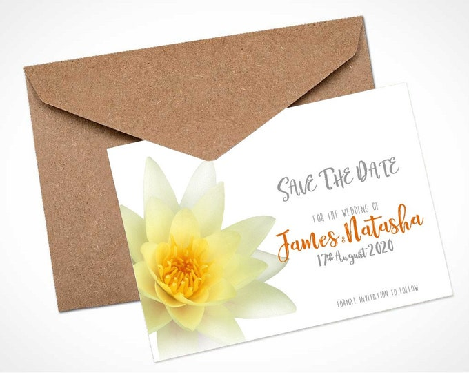 Golden Waterlily Wedding Save The Date Card / Magnet