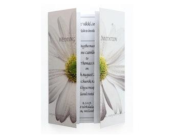 White Daisy Wedding Invitation On Gatefold Card