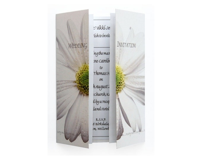 White Daisy Wedding Invitation On Gatefold Card