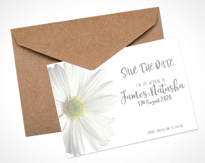 Daisy Wedding Save The Date Card / Magnet