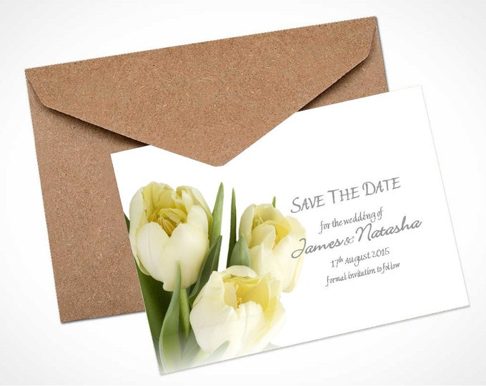 Cream Tulips Wedding Save The Date Card / Magnet