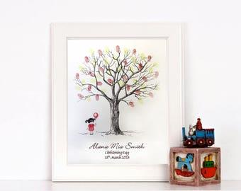 Christening Fingerprint Tree - Little Girl - Naming Day/ Birthday - Unusual Gift!