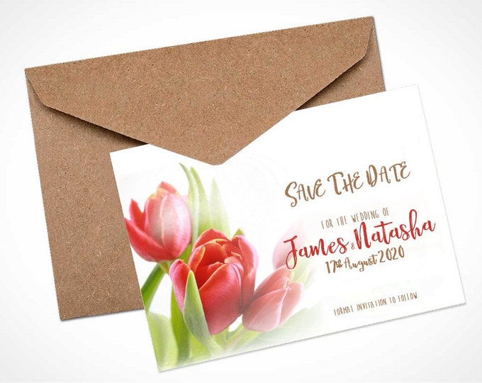 Red Tulips Wedding Save The Date Card / Magnet