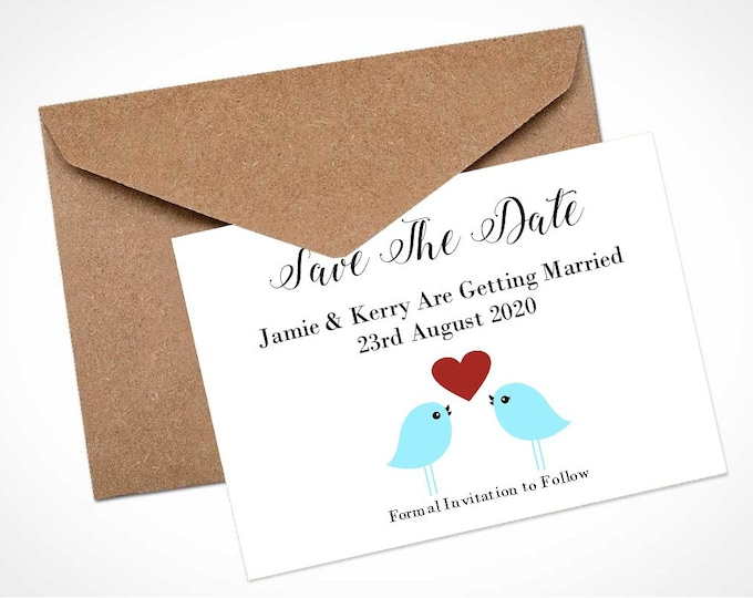 Love Birds Wedding Save The Date Card / Magnet