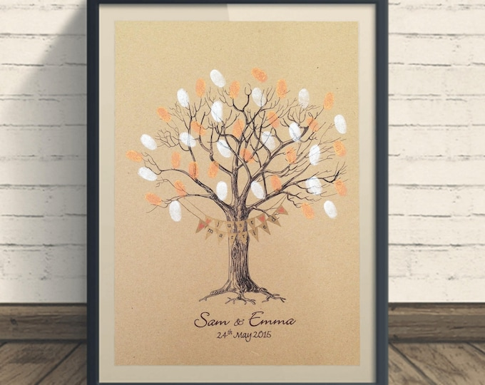 Personalised Wedding Fingerprint Tree - Vintage Kraft Card WITH BUNTING on KRAFT card