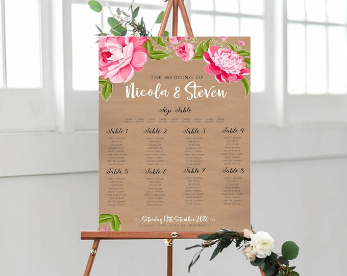 Wedding Table Plan / Seating Plan - Kraft Card & Pink Peony Design - Table Names, Numbers, Place Cards