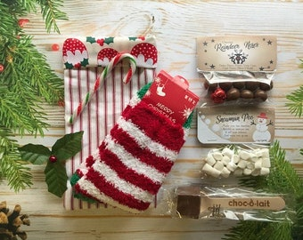 Christmas Eve Bag / Box- Handmade Bag For Teens & Older Kids - Filled With Fluffy Socks, Belgium Hot Chocolate Spoon and More!!
