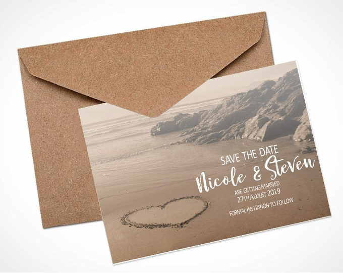 Heart in the Sand Wedding Save The Date Card / Magnet