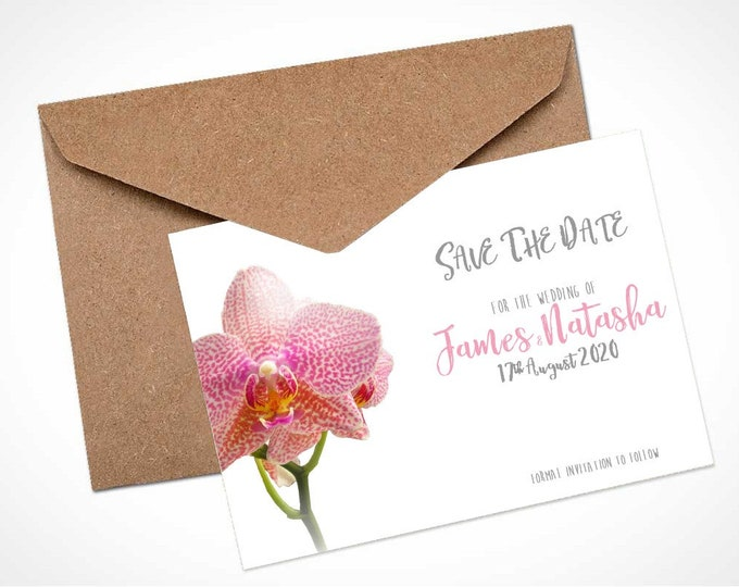 Pink Orchid Wedding Save The Date Card / Magnet