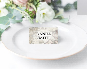 Vintage Maps Wedding Place Card - Personalised and Blank