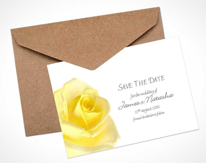 Yellow Rose Wedding Save The Date Card / Magnet