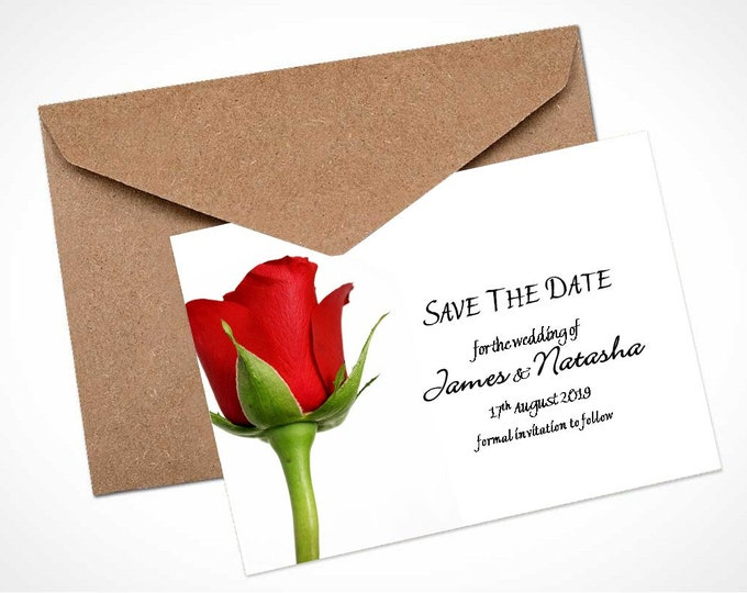 Single Red Rose Wedding Save The Date Card / Magnet