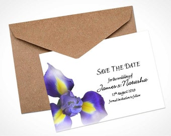 Blue Iris Wedding Save The Date Card / Magnet
