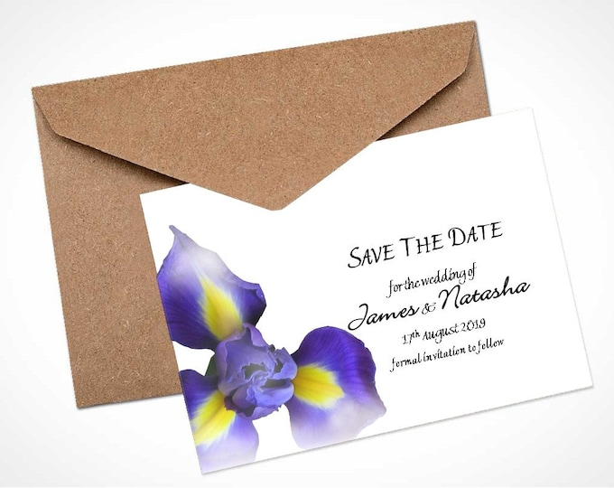 Blue Iris Wedding Save The Date Card / Magnet